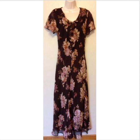 100% SILK Chadwicks Floral-full length Dress new